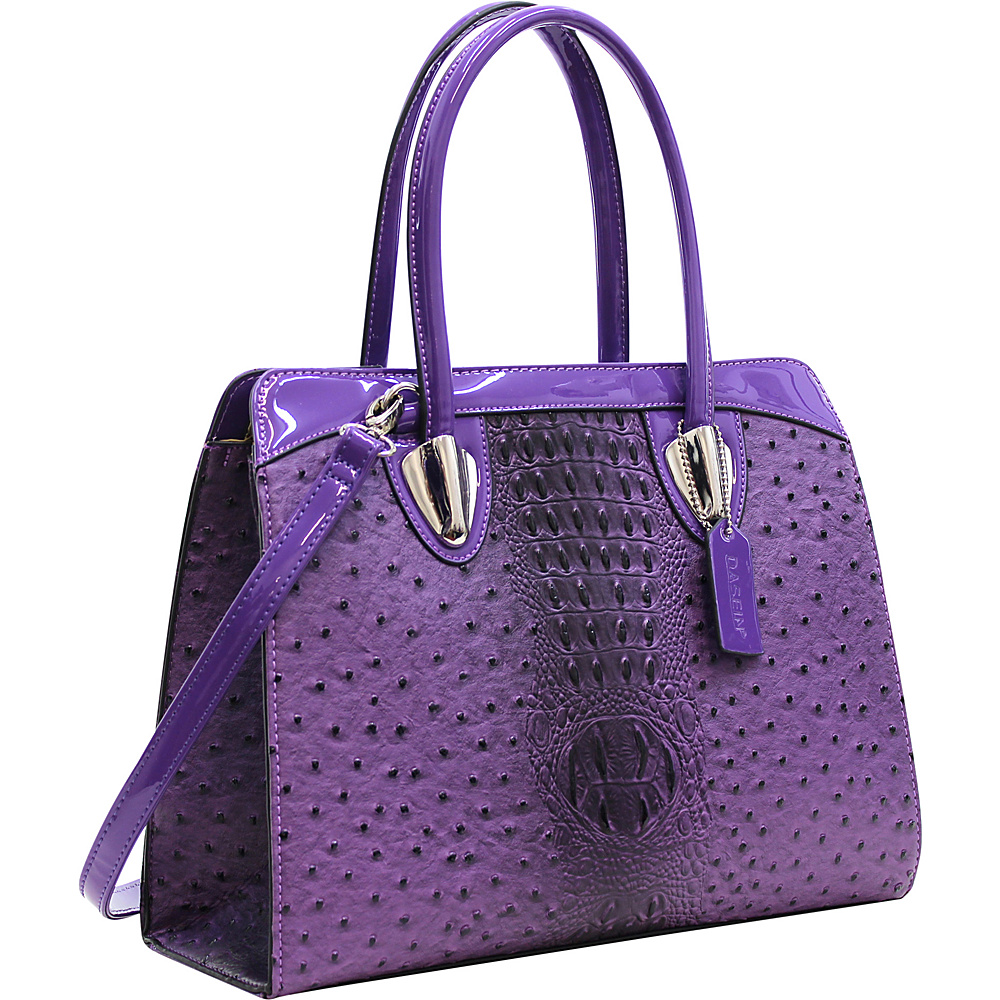 Dasein Ostrich Satchel with Shoulder Strap Purple - Dasein Manmade Handbags - Handbags, Manmade Handbags