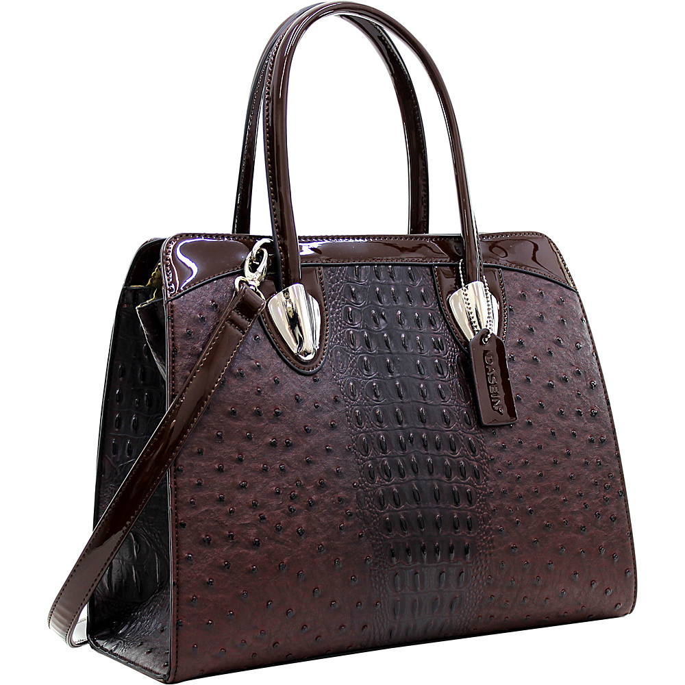 Dasein Ostrich Satchel with Shoulder Strap Coffee - Dasein Manmade Handbags - Handbags, Manmade Handbags