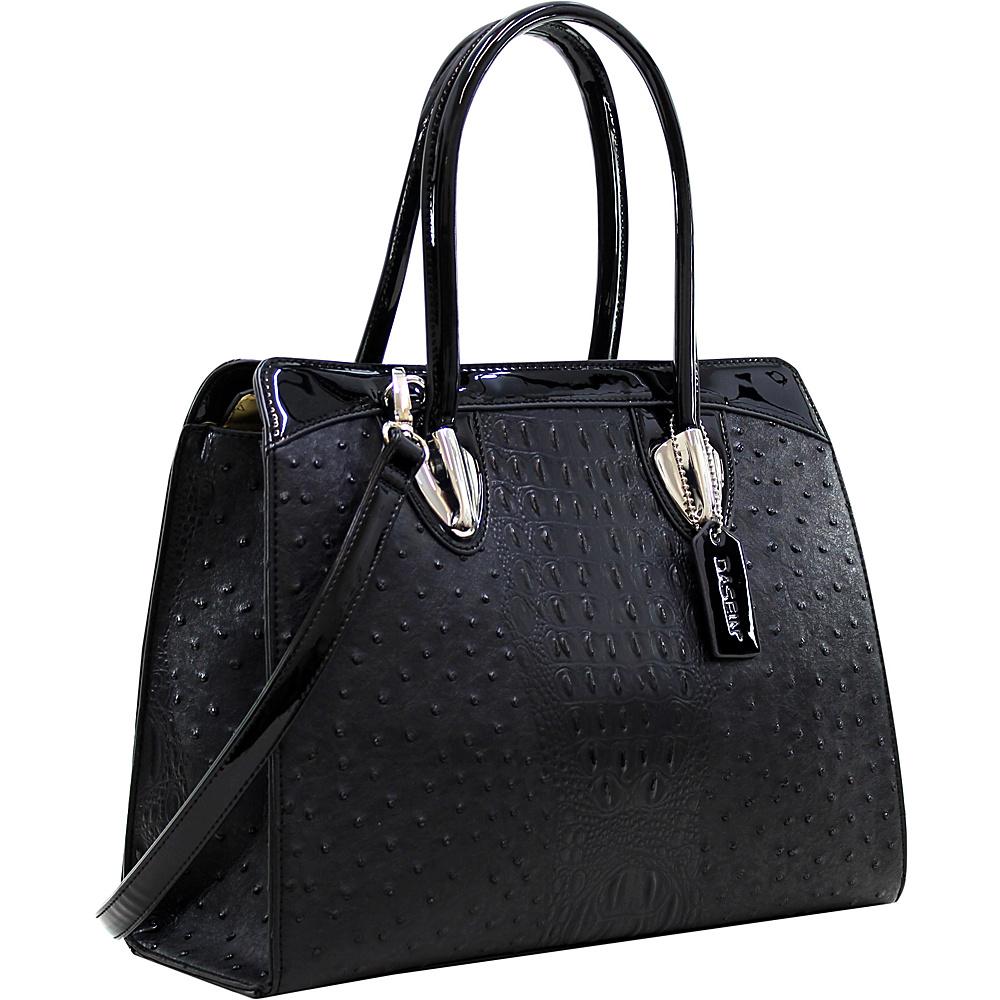 Dasein Ostrich Satchel with Shoulder Strap Black - Dasein Manmade Handbags - Handbags, Manmade Handbags