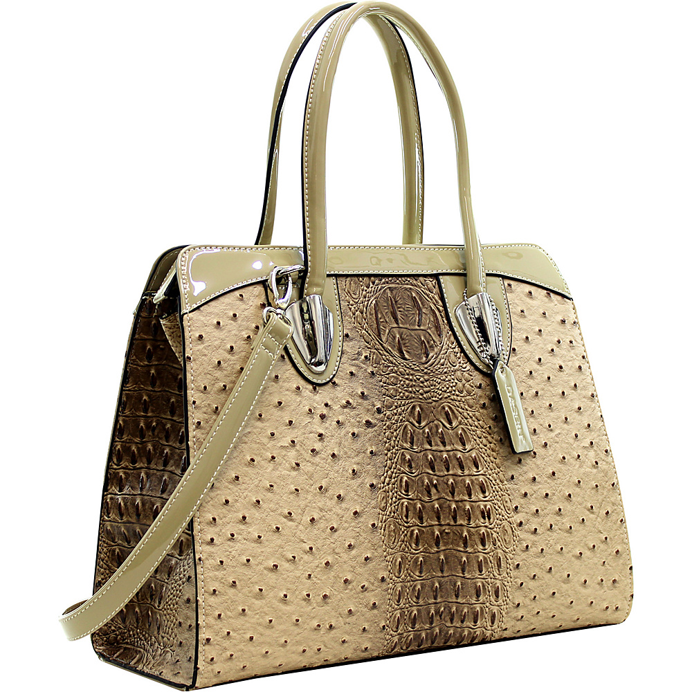 Dasein Ostrich Satchel with Shoulder Strap Tan - Dasein Manmade Handbags - Handbags, Manmade Handbags