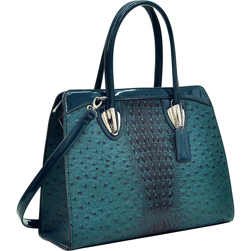 Dasein Ostrich Satchel with Shoulder Strap Deep Green - Dasein Manmade Handbags - Handbags, Manmade Handbags