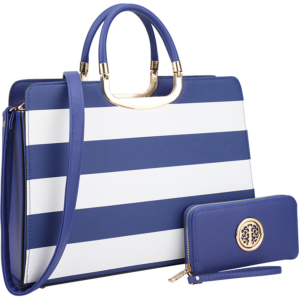 Dasein Patent Striped Briefcase Satchel with Matching Wallet Blue/White - Dasein Manmade Handbags - Handbags, Manmade Handbags