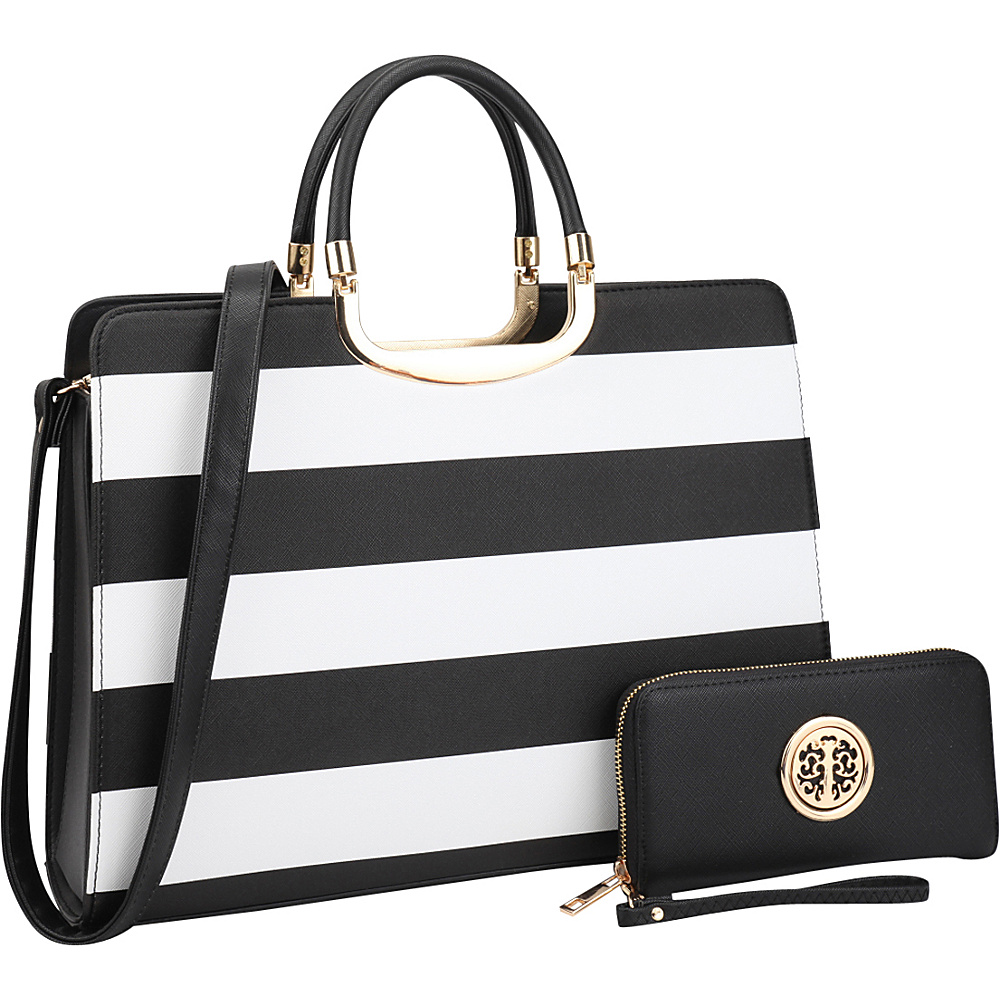 Dasein Patent Striped Briefcase Satchel with Matching Wallet Black/White - Dasein Manmade Handbags - Handbags, Manmade Handbags