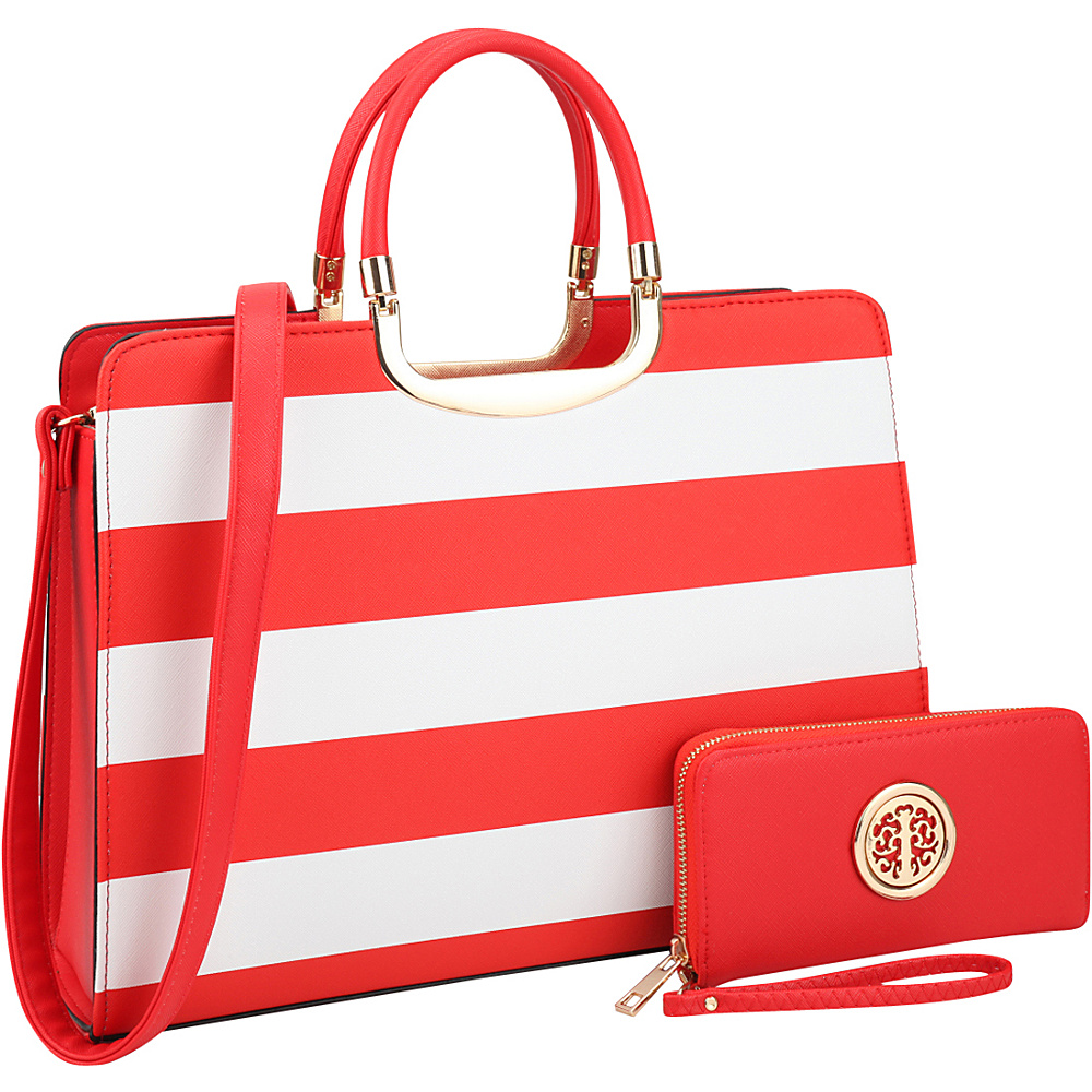 Dasein Patent Striped Briefcase Satchel with Matching Wallet Red/White - Dasein Manmade Handbags - Handbags, Manmade Handbags