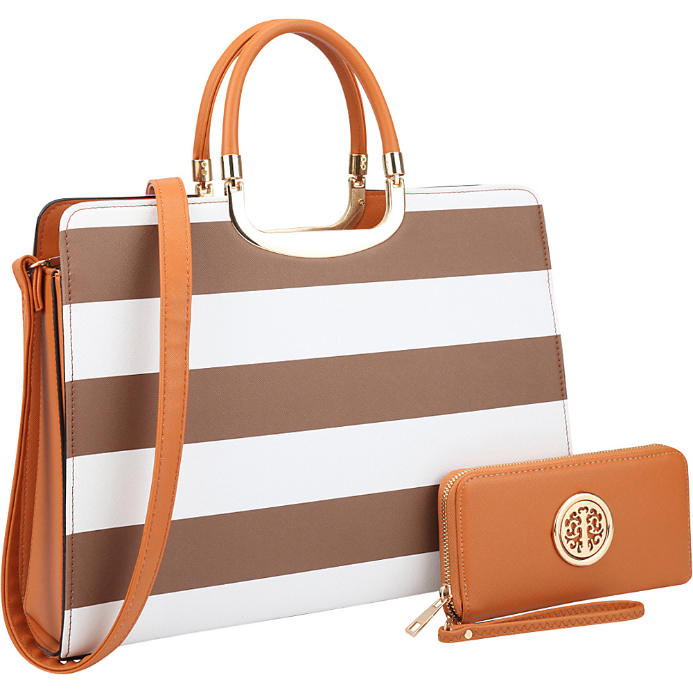 Dasein Patent Striped Briefcase Satchel with Matching Wallet Coffee/White - Dasein Manmade Handbags - Handbags, Manmade Handbags