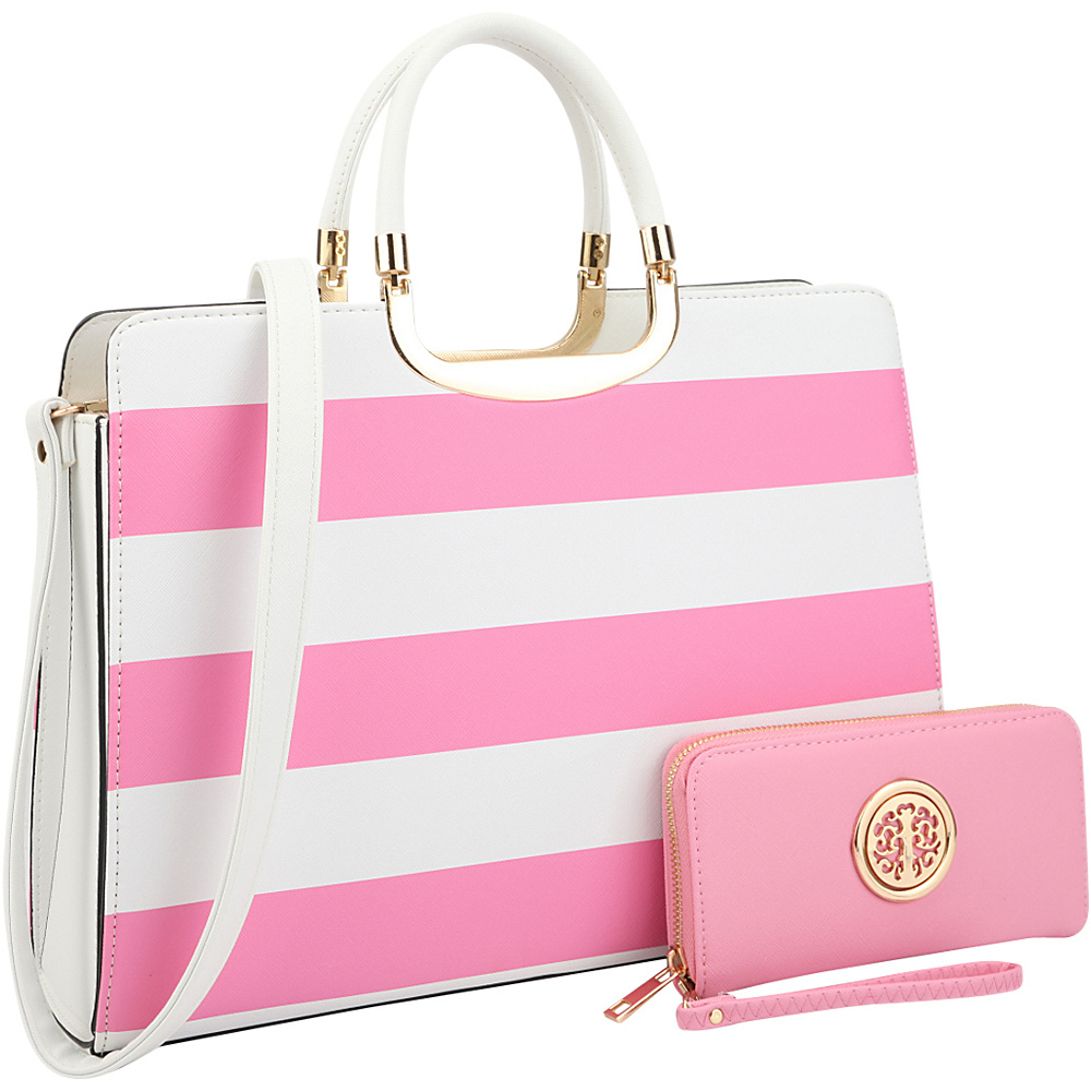 Dasein Patent Striped Briefcase Satchel with Matching Wallet Pink/White - Dasein Manmade Handbags - Handbags, Manmade Handbags