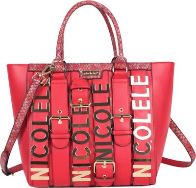 Nicole Lee Hilliard Belt Embellish Tote Red - Nicole Lee Manmade Handbags