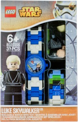 LEGO Watches Star Wars Luke Skywalker Kids Buildable Watch with Link Bracelet and Minifigure Blue - LEGO Watches Watches