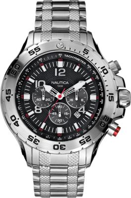 Nautica Watches Mens NST Stainless Steel Chronograph Watch Silver/Black - Nautica Watches Watches