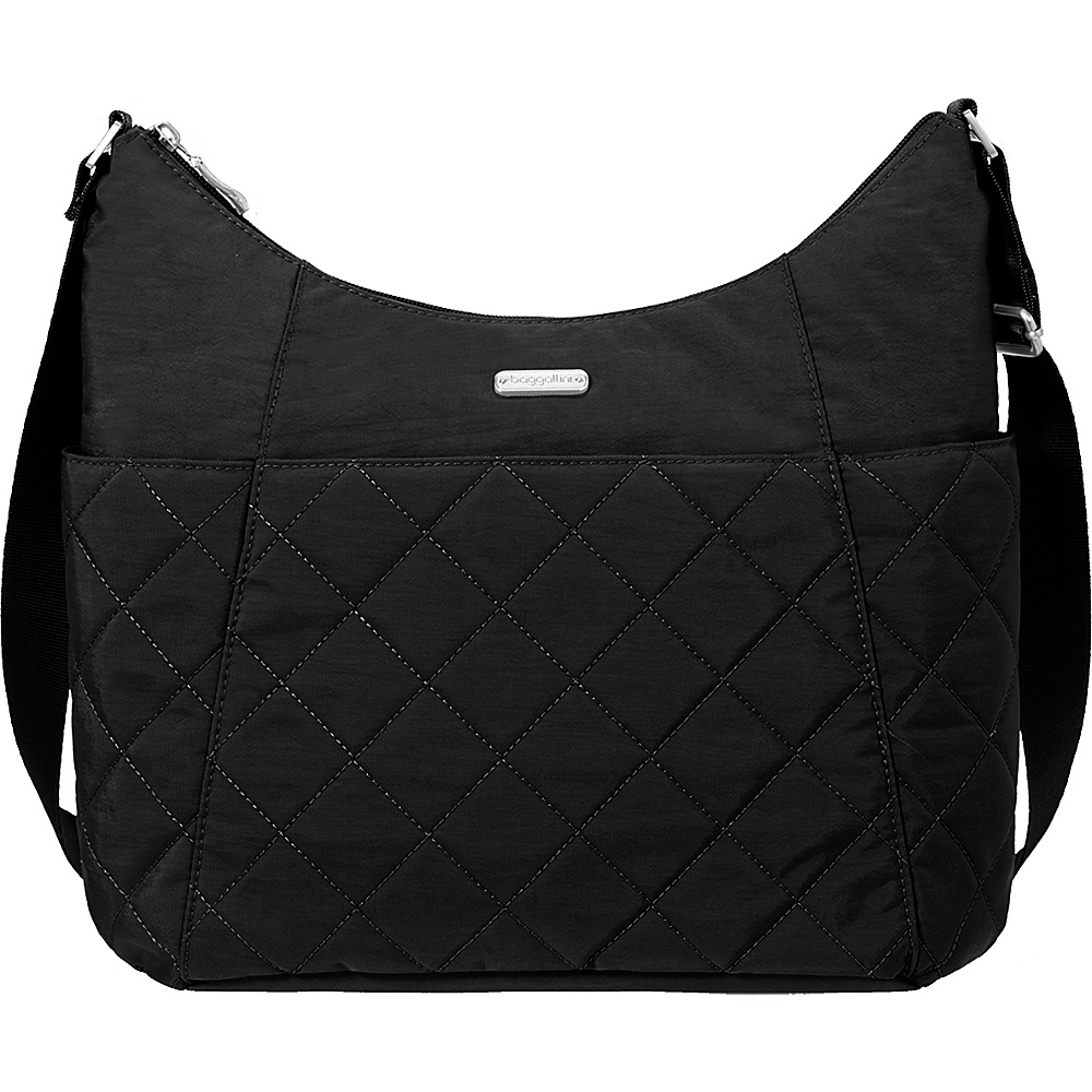 baggallini Quilted Hobo Tote with RFID Black Quilt - baggallini Fabric Handbags - Handbags, Fabric Handbags