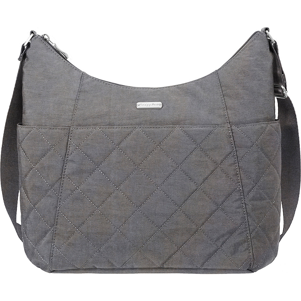 baggallini Quilted Hobo Tote with RFID Pewter Quilt - baggallini Fabric Handbags - Handbags, Fabric Handbags