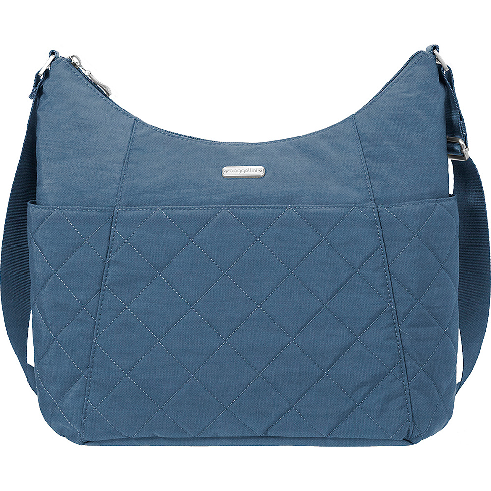 baggallini Quilted Hobo Tote with RFID Slate Quilt - baggallini Fabric Handbags - Handbags, Fabric Handbags
