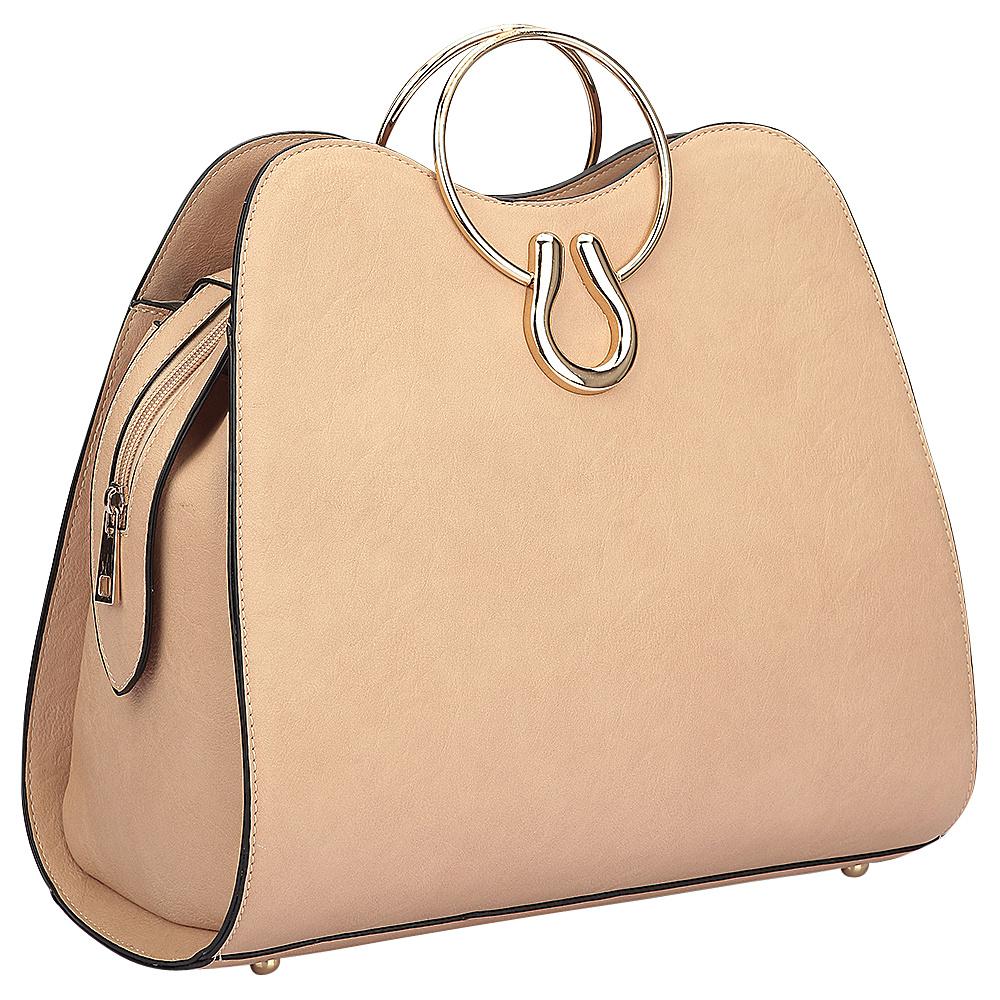 Dasein Metal Handle Structure Satchel Beige - Dasein Manmade Handbags - Handbags, Manmade Handbags