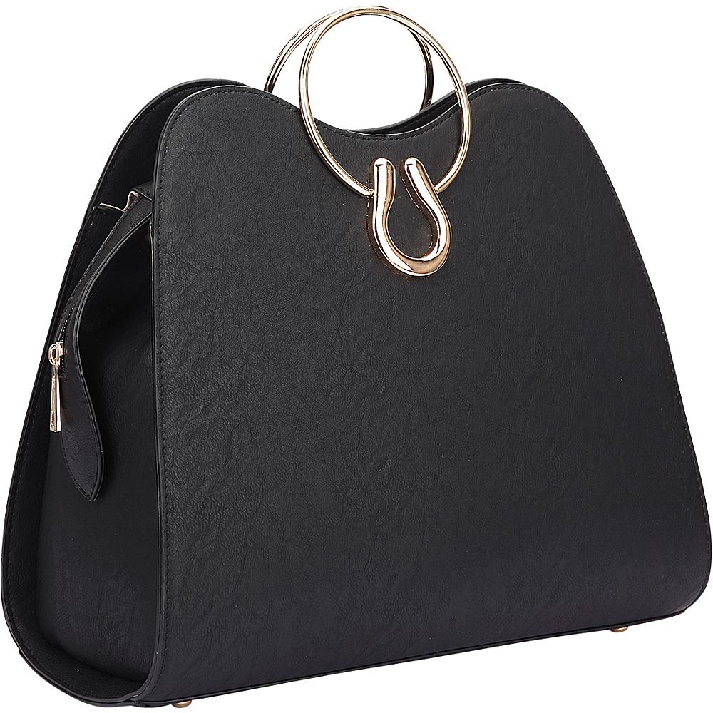 Dasein Metal Handle Structure Satchel Black - Dasein Manmade Handbags - Handbags, Manmade Handbags