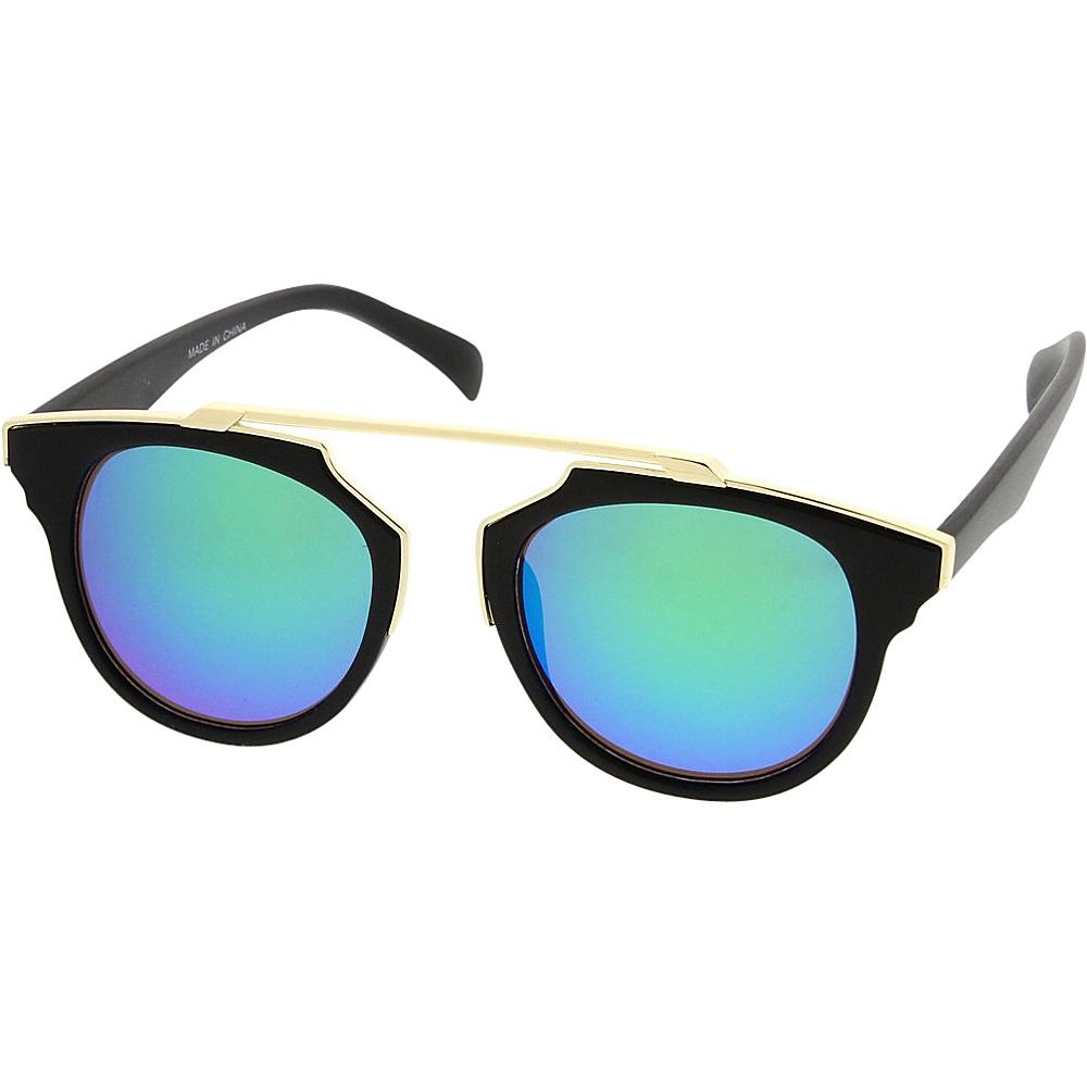SW Global Womens Retro Fashion Dapper Frame Brow Bar Flash Lens Sunglasses Blue - SW Global Eyewear - Fashion Accessories, Eyewear