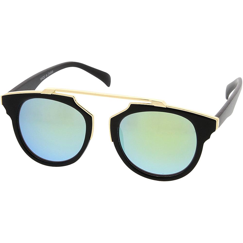 SW Global Womens Retro Fashion Dapper Frame Brow Bar Flash Lens Sunglasses Green - SW Global Eyewear - Fashion Accessories, Eyewear