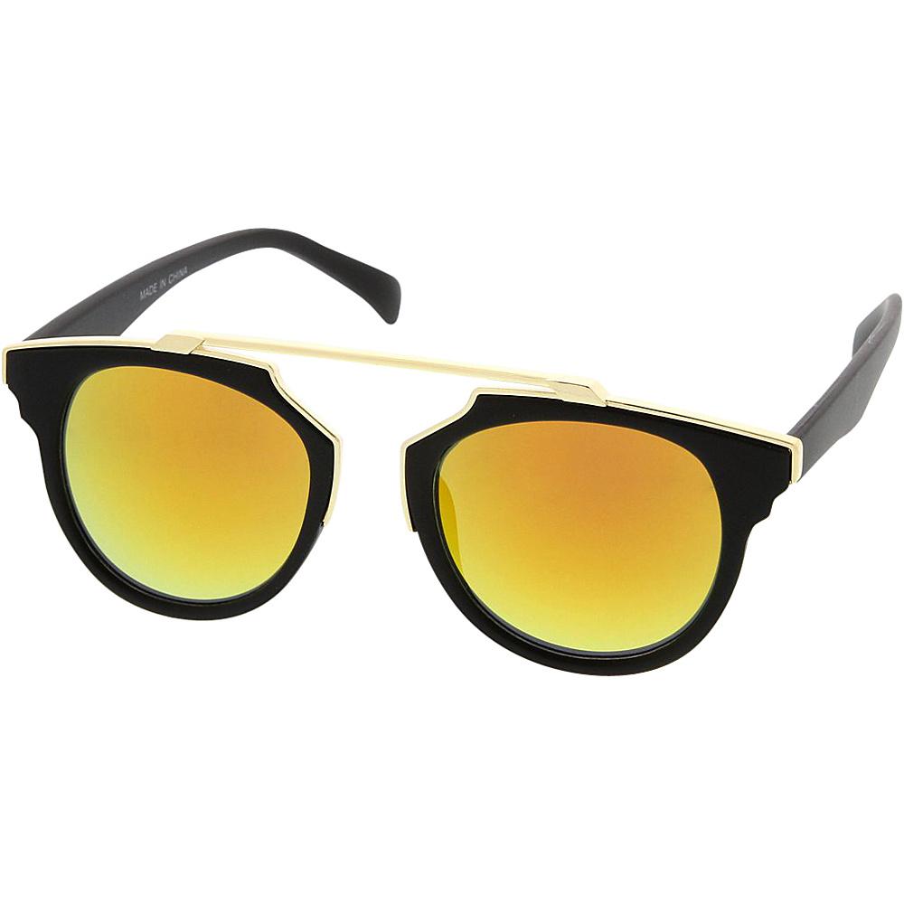 SW Global Womens Retro Fashion Dapper Frame Brow Bar Flash Lens Sunglasses Orange - SW Global Eyewear - Fashion Accessories, Eyewear