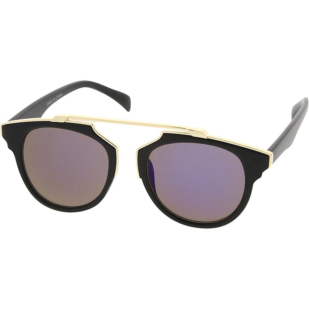 SW Global Womens Retro Fashion Dapper Frame Brow Bar Flash Lens Sunglasses Purple - SW Global Eyewear - Fashion Accessories, Eyewear