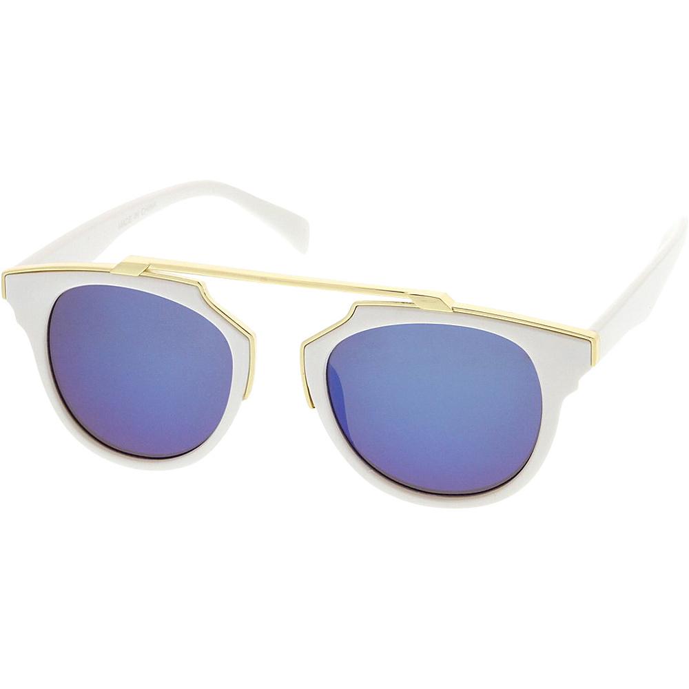 SW Global Womens Retro Fashion Dapper Frame Brow Bar Flash Lens Sunglasses White - SW Global Eyewear - Fashion Accessories, Eyewear