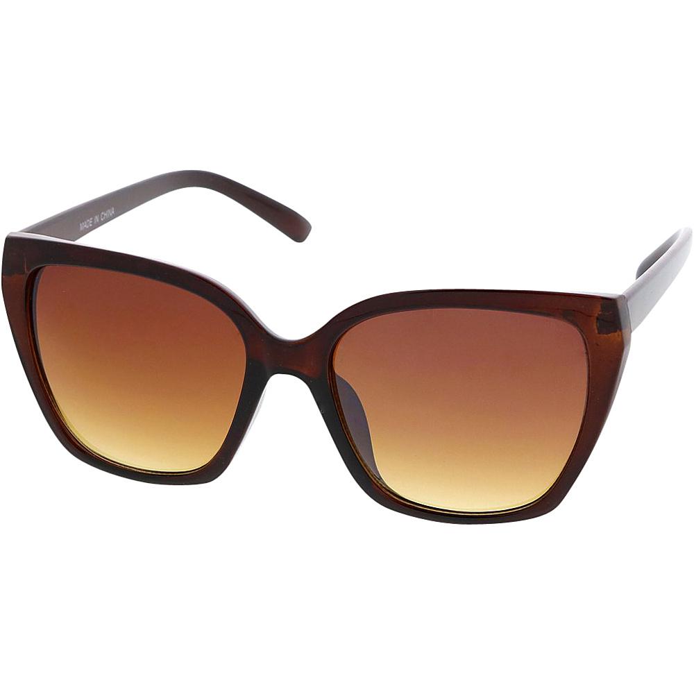SW Global Womens Simple Fashion Geometric Frame Cat Eye Sunglasses Brown - SW Global Eyewear - Fashion Accessories, Eyewear