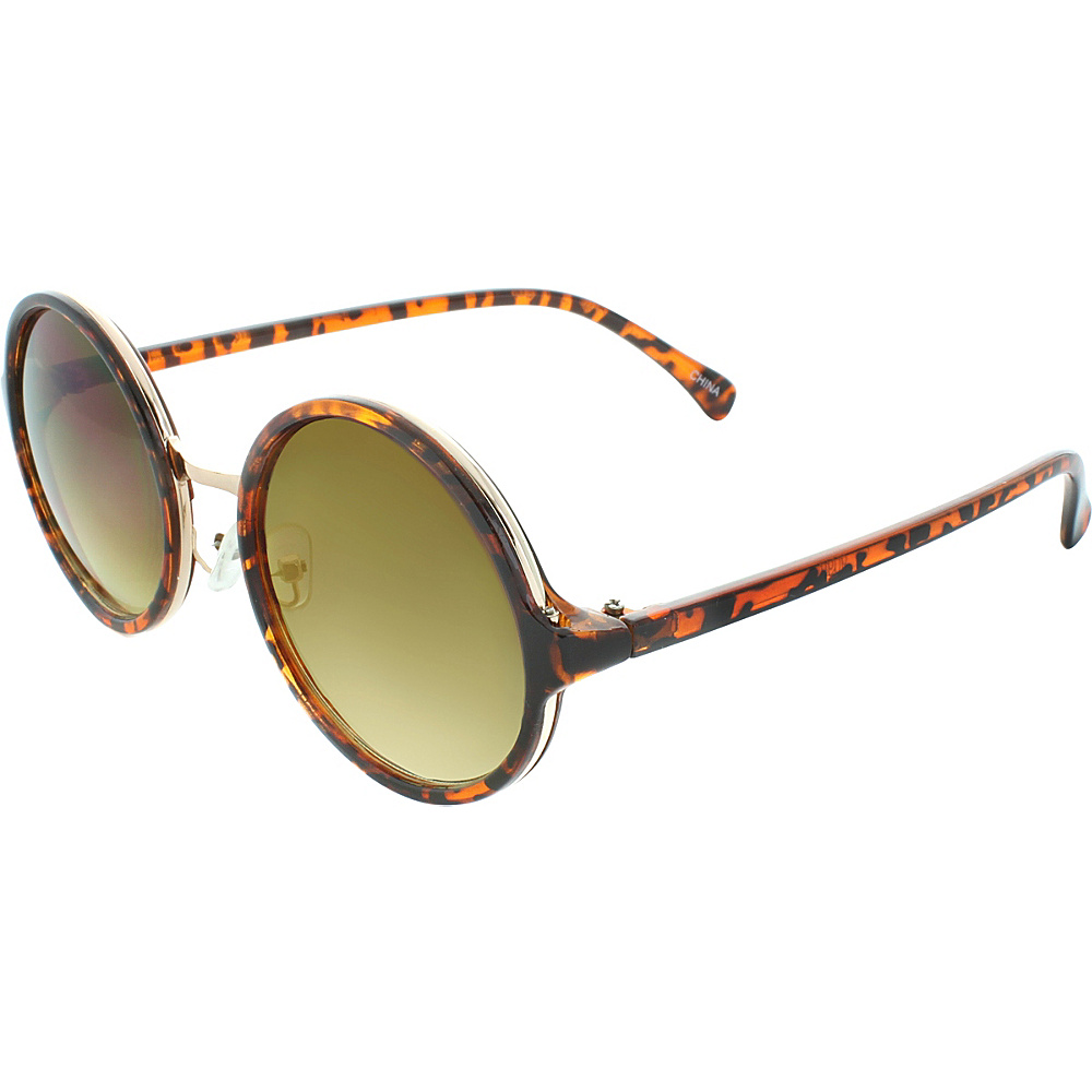 SW Global Metal Insert 50mm Round Sunglasses Leopard-Amber - SW Global Eyewear - Fashion Accessories, Eyewear