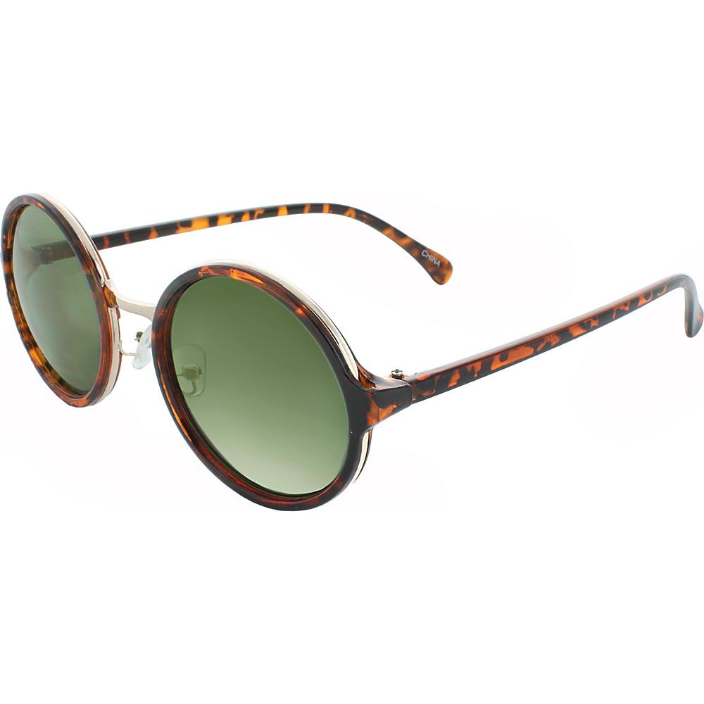 SW Global Metal Insert 50mm Round Sunglasses Leopard-Smoke - SW Global Eyewear - Fashion Accessories, Eyewear