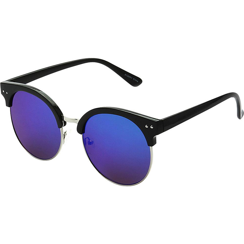 SW Global Urban Fashion Horn Rimmed Round Frame Reflection Lens Sunglasses Blue Purple - SW Global Eyewear - Fashion Accessories, Eyewear