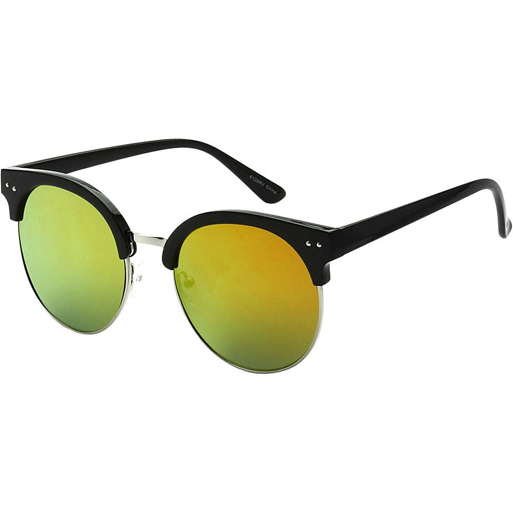 SW Global Urban Fashion Horn Rimmed Round Frame Reflection Lens Sunglasses Orange Yellow - SW Global Eyewear - Fashion Accessories, Eyewear