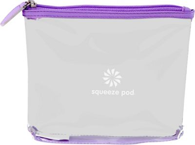 Squeeze Pod Clear Travel Toiletry Bag - TSA Approved Light Purple Trim - Squeeze Pod Lightweight Packable Expandable Bags