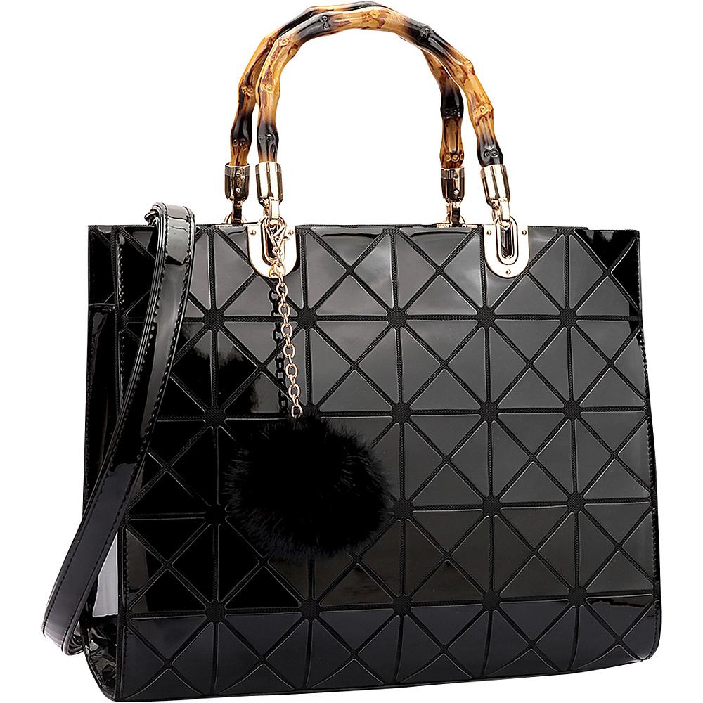 Dasein Wooden Handle Leather Satchel Black - Dasein Manmade Handbags - Handbags, Manmade Handbags