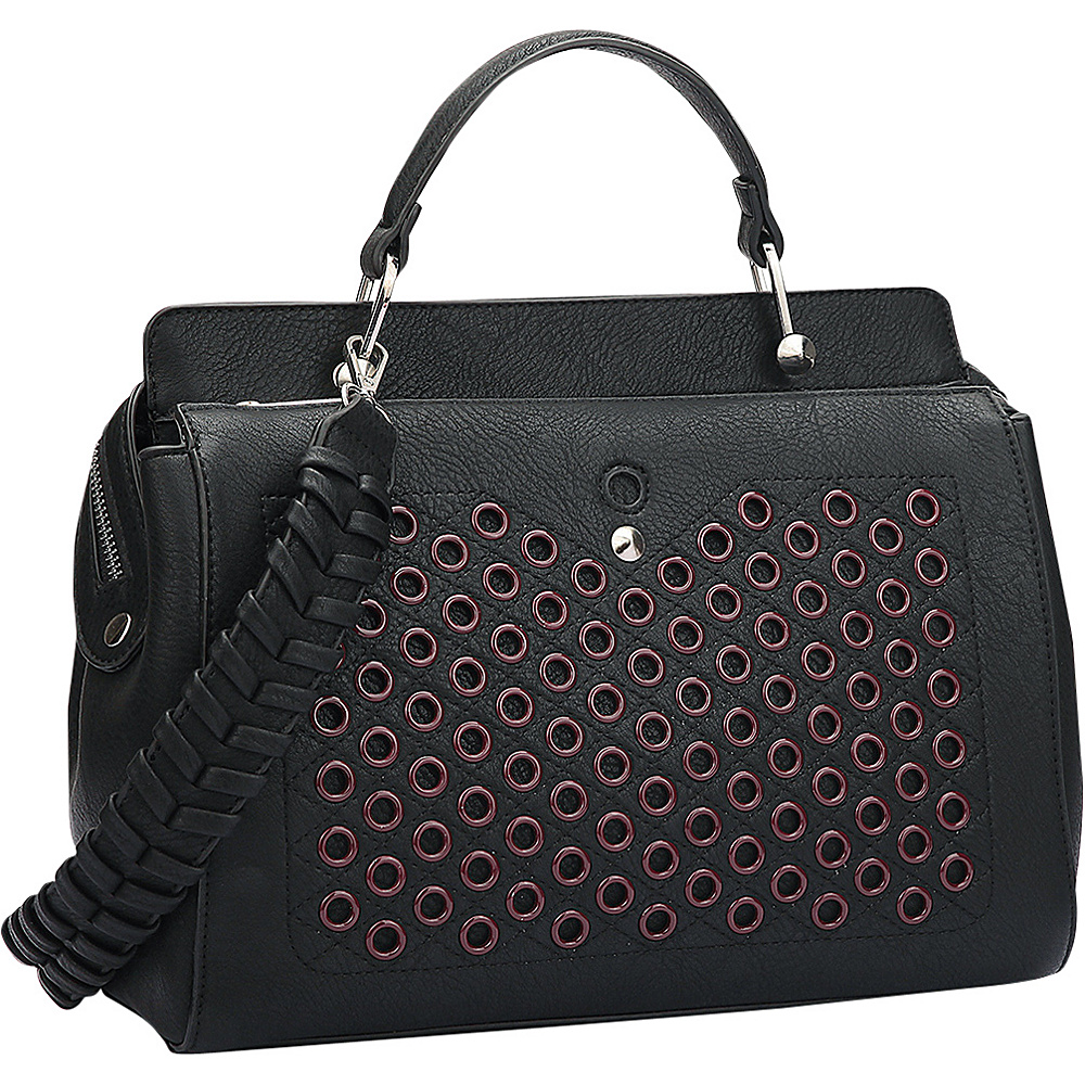 Dasein Designer Holes and Weave Strap Shoulder Bag Black - Dasein Manmade Handbags - Handbags, Manmade Handbags