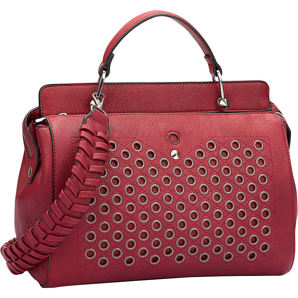 Dasein Designer Holes and Weave Strap Shoulder Bag Red - Dasein Manmade Handbags - Handbags, Manmade Handbags