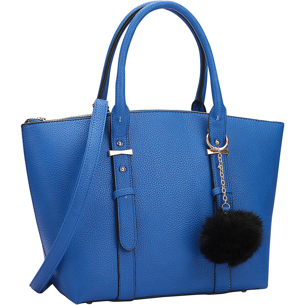 Dasein Buckle Handle Satchel Blue - Dasein Manmade Handbags - Handbags, Manmade Handbags