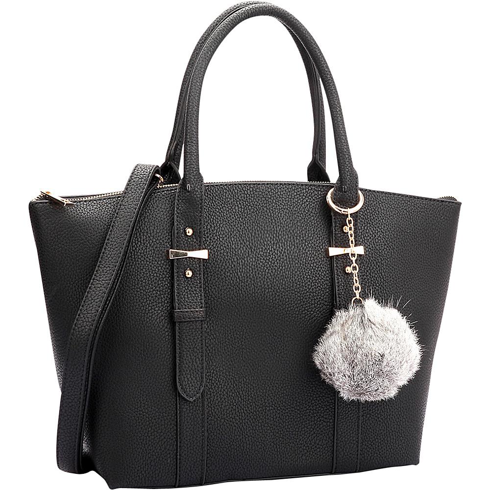 Dasein Buckle Handle Satchel Black - Dasein Manmade Handbags - Handbags, Manmade Handbags