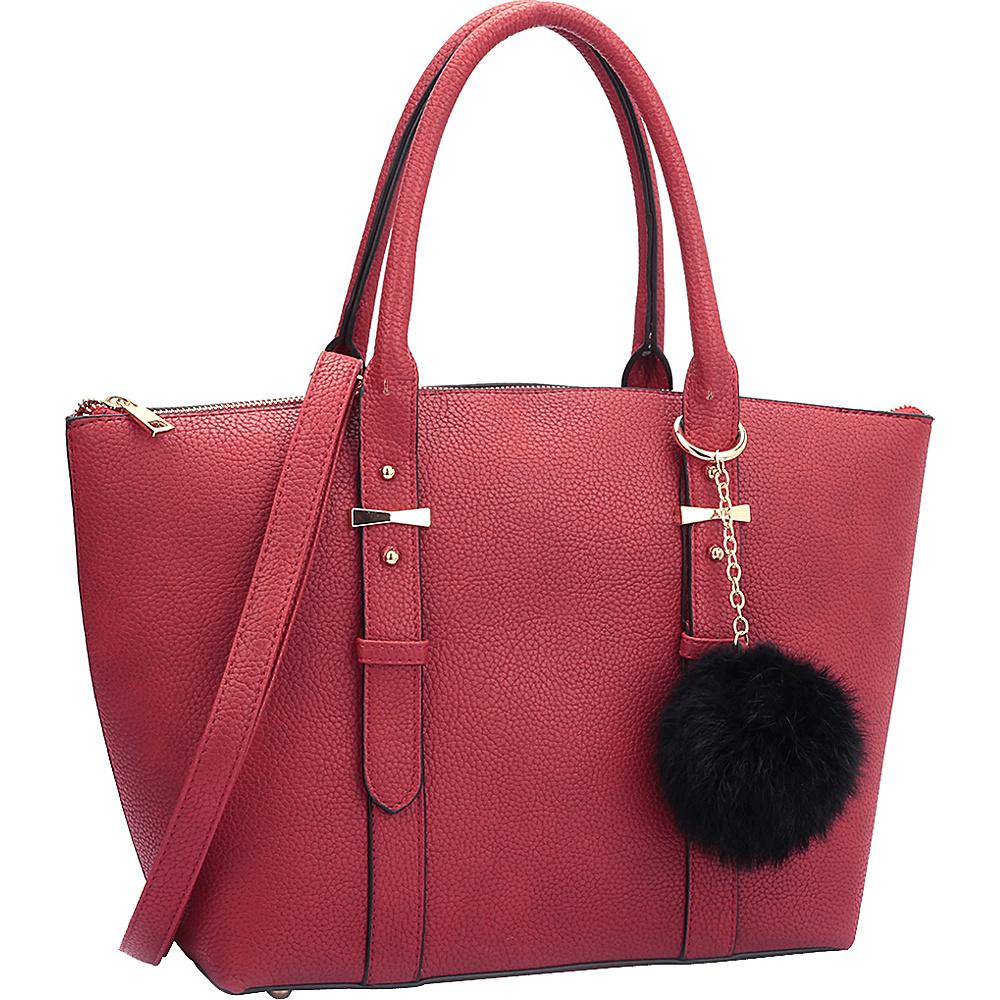 Dasein Buckle Handle Satchel Red - Dasein Manmade Handbags - Handbags, Manmade Handbags