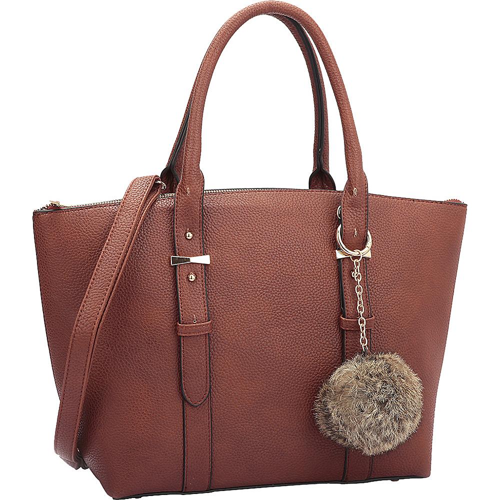 Dasein Buckle Handle Satchel Brown - Dasein Manmade Handbags - Handbags, Manmade Handbags
