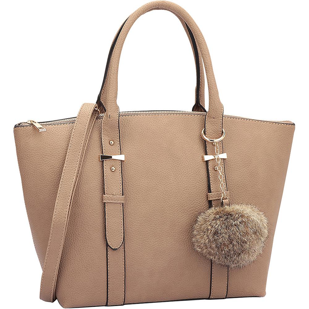 Dasein Buckle Handle Satchel Stone - Dasein Manmade Handbags - Handbags, Manmade Handbags