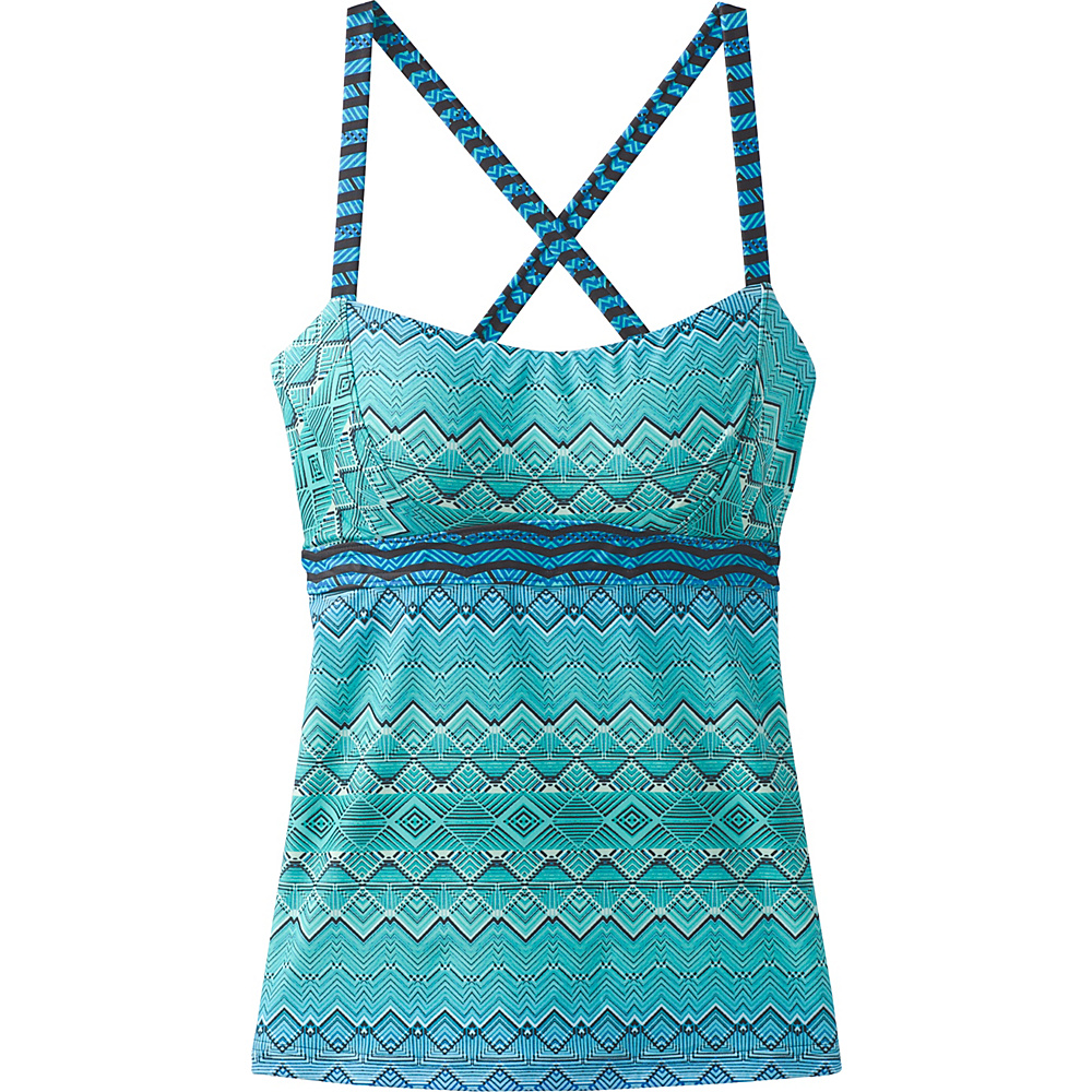 PrAna Alicia Swim Tankini S - Vortex Blue Rhythm - PrAna Womens Apparel - Apparel & Footwear, Women's Apparel