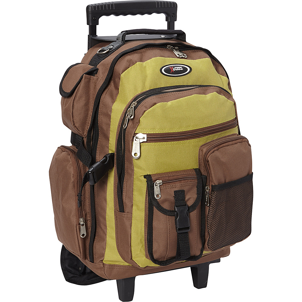Everest Rolling Student Backpack Pistachio/Brown - Everest Wheeled Backpacks - Backpacks, Wheeled Backpacks