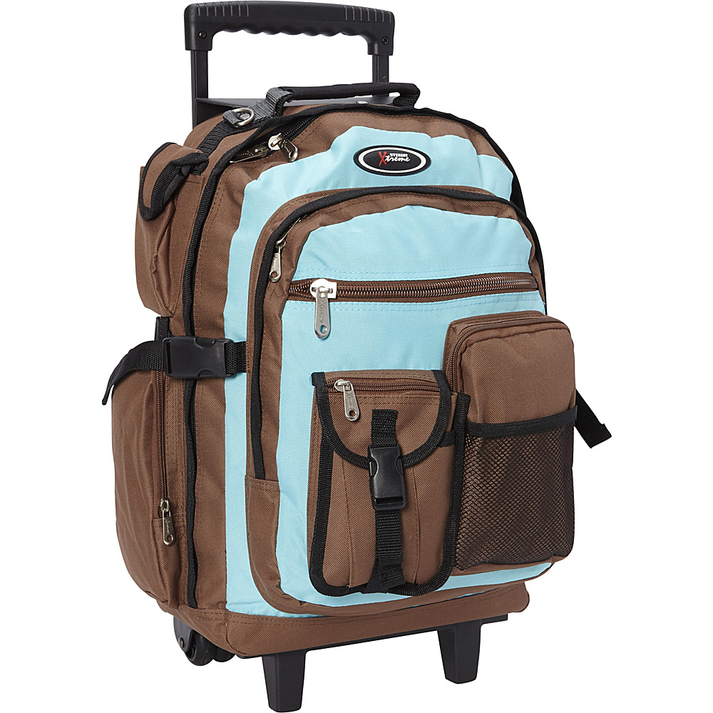 Everest Rolling Student Backpack Turquoise/Brown - Everest Wheeled Backpacks - Backpacks, Wheeled Backpacks