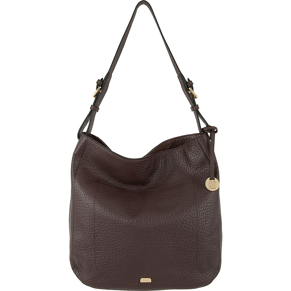 Lodis Borrego RFID Dortha Hobo Dark Brown - Lodis Leather Handbags - Handbags, Leather Handbags