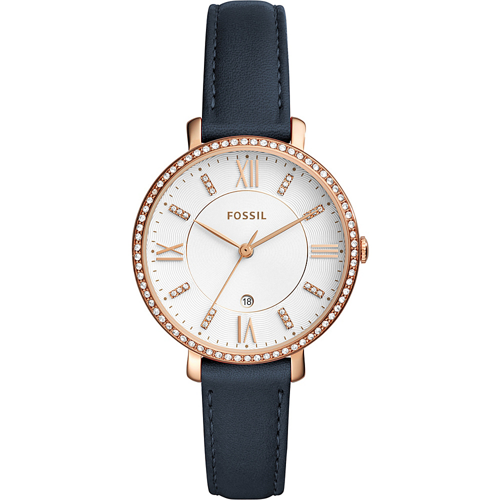 Fossil Jacqueline Three-Hand Date Leather Watch Blue - Fossil Watches - Fashion Accessories, Watches