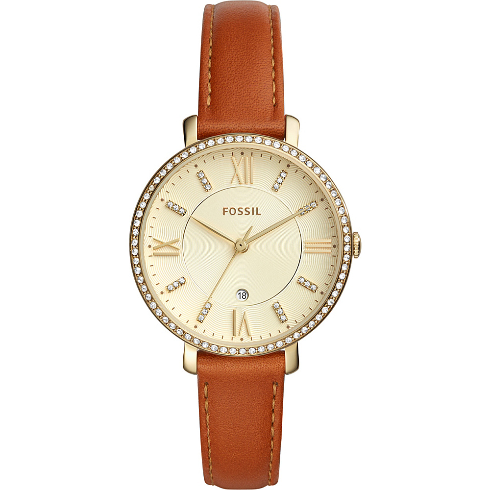 Fossil Jacqueline Three-Hand Date Leather Watch Brown - Fossil Watches - Fashion Accessories, Watches