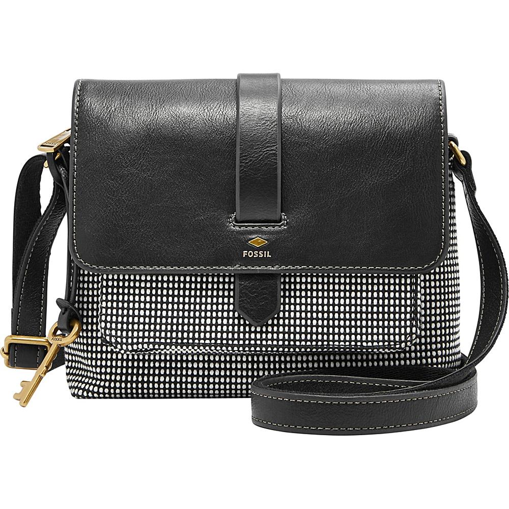 Fossil Kinley Small Crossbody Black/White - Fossil Leather Handbags - Handbags, Leather Handbags
