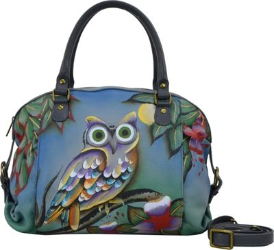 ANNA by Anuschka Hand Painted Top Zip Dual Front Pocket Satchel Midnight Owl - ANNA by Anuschka Leather Handbags