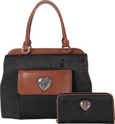 Rimen & Co Heart Print Pattern Tote & Wallet Black - Rimen & Co Manmade Handbags