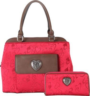 Rimen & Co Heart Print Pattern Tote & Wallet Red - Rimen & Co Manmade Handbags