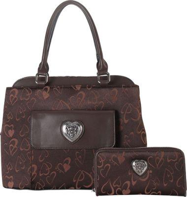 Rimen & Co Heart Print Pattern Tote & Wallet Brown - Rimen & Co Manmade Handbags