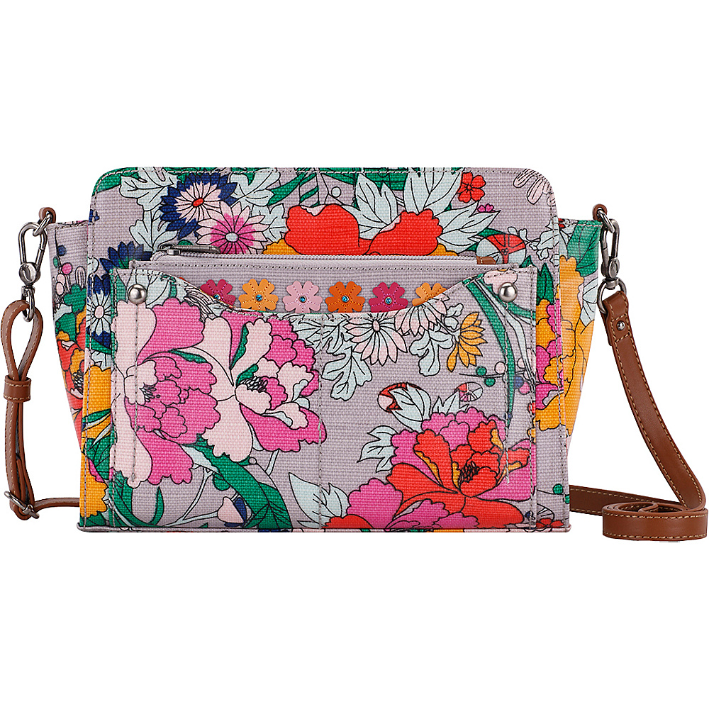 Sakroots Tracy Small Charging Crossbody Lilac Flower Power - Sakroots Fabric Handbags - Handbags, Fabric Handbags