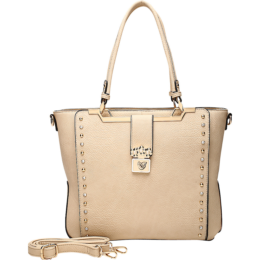 MKF Collection by Mia K. Farrow Francesca Satchel Beige - MKF Collection by Mia K. Farrow Manmade Handbags - Handbags, Manmade Handbags